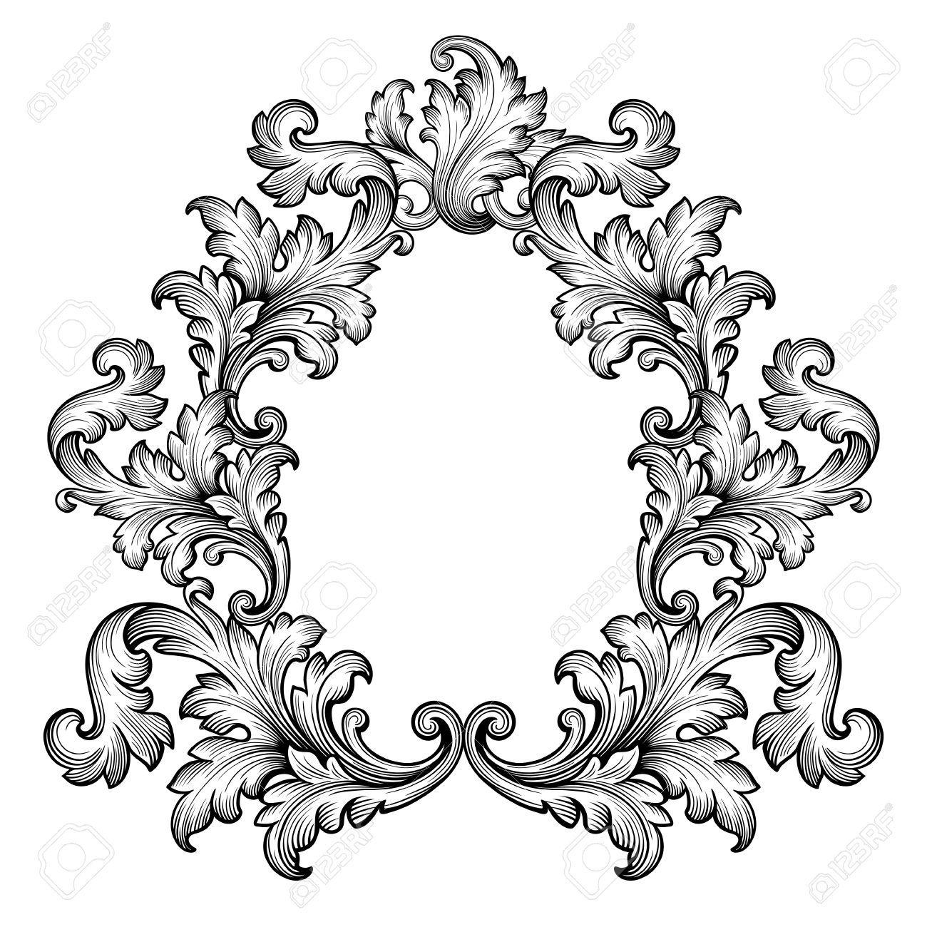 Antique Scroll Vector: Vintage Baroque Frame Scroll Ornament Engraving Border