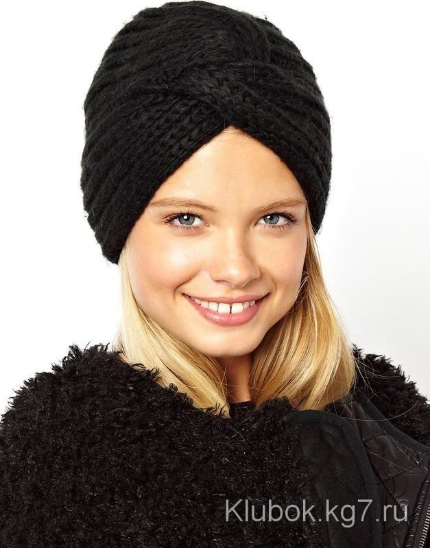 Схема вязания шапки чалмы спицами