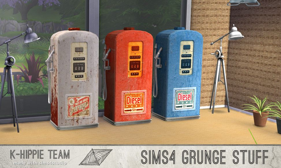 Gas Pump I  Grunge Stuff I Vol. 1+ 2   I Clutter I by K-Hippie Team via tech-hippie.com I Maxis Match I Sims 4