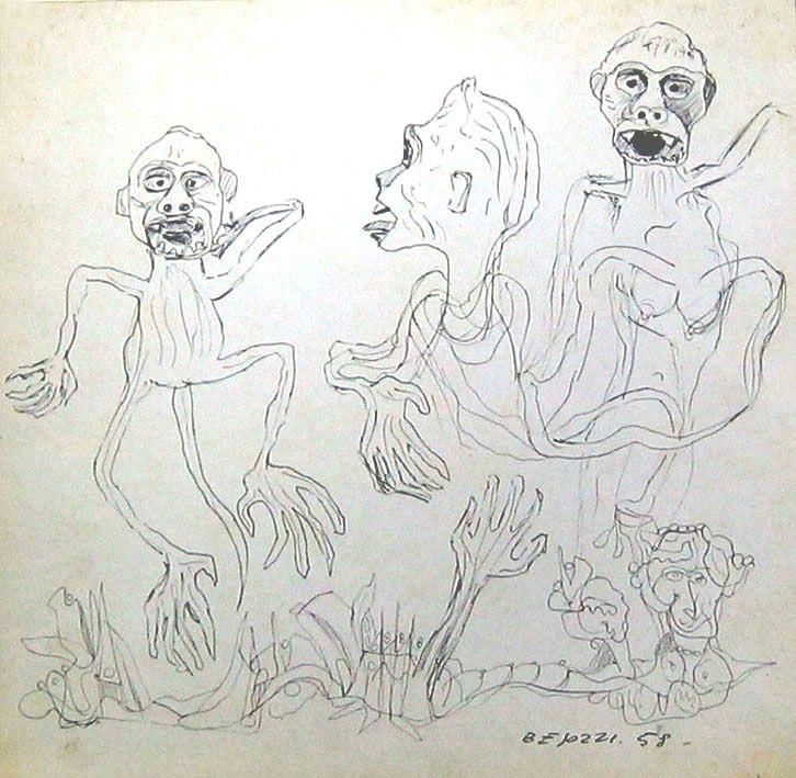 E. Besozzi pitt. 1958 Personaggi studi per carri allegorici biro su cartone cm. 26,5x27,3 arc. 321