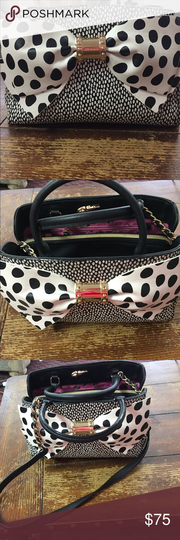 Betsey Johnson Purse Handbag / Shoulder bag 💼 Elegant & classy Betsey Johnson purse. This bag is in excellent used condition. There are no holes, tears or stains on the leather. The inside is very clean. There are one or two pencil/makeup brush markings on the bottom of the lining on the inside, but overall the purse is in near perfect condition. The bag has 3 compartments, one  is a large zippered compartment in the middle. Each of the other compartments have a smaller pouch for storage as…