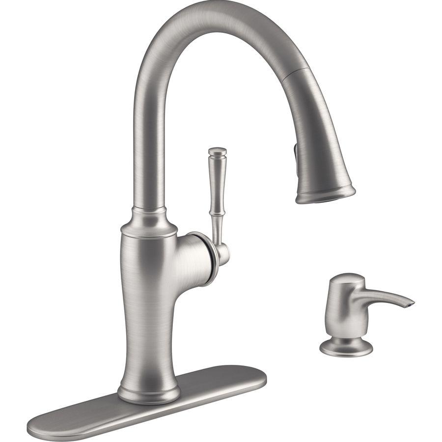 KOHLER Cardale Vibrant Stainless 1-Handle Pull-Down Kitchen Faucet ...