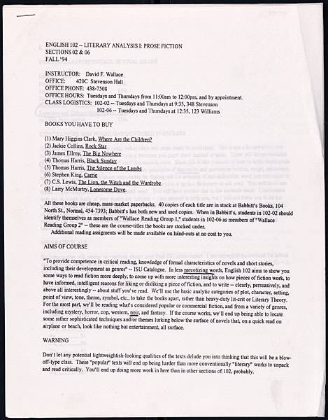 David Foster Wallace S 1994 Syllabus How To Teach Serious Literature With Lightweight Books David Foster Wallace Teaching Literature Syllabus
