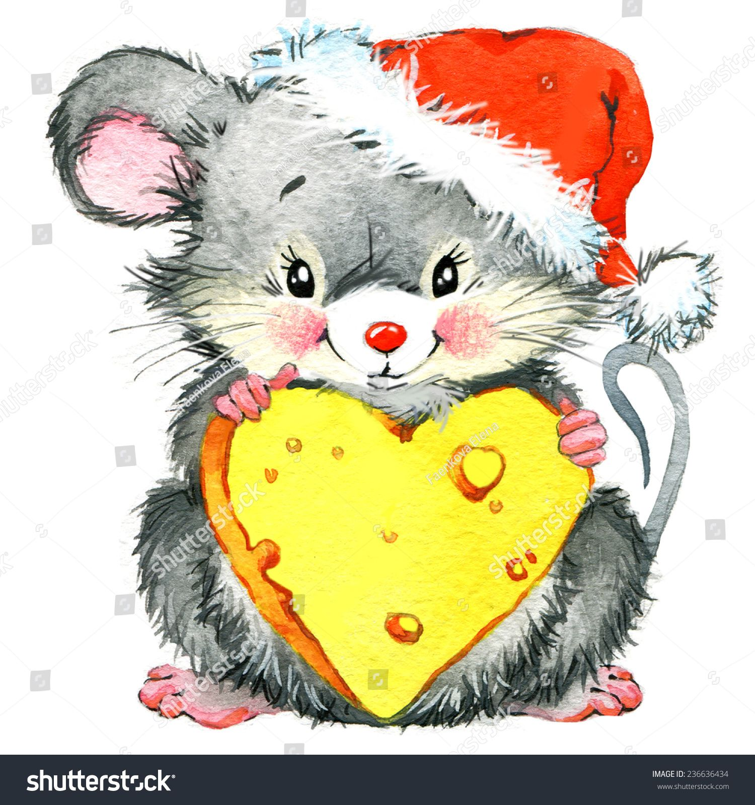 cute mouse. New year greeting card | Рождественские ...