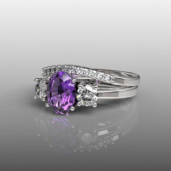 10k White Gold Engagement Ring and Wedding Band Set, Purple Amethyst Ring, White Topaz Ring, Wedding Ring, 3 Stone Ring, Anniversary R-1008 on Etsy, $645.00