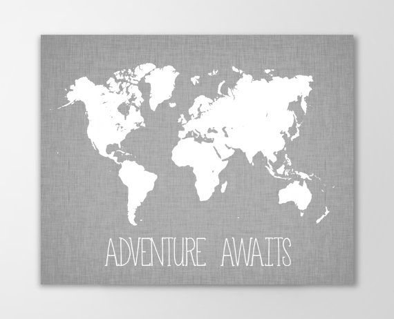 Adventure awaits world map canvas art print nursery decor canvas adventure awaits world map canvas art print nursery decor canvas stretched gallery wrapped canvas gumiabroncs Choice Image