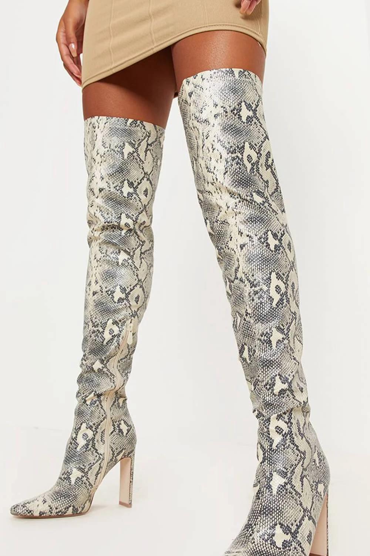 Snake Heeled Thigh High Sock Boots Thigh High Sock Boots Socks And Heels Thigh High Boots Heels