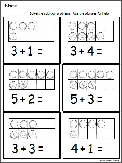 St Patrick S Day Ten Frame Worksheet Madebyteachers Math Addition Worksheets Math Addition Kindergarten Math Ten Frames