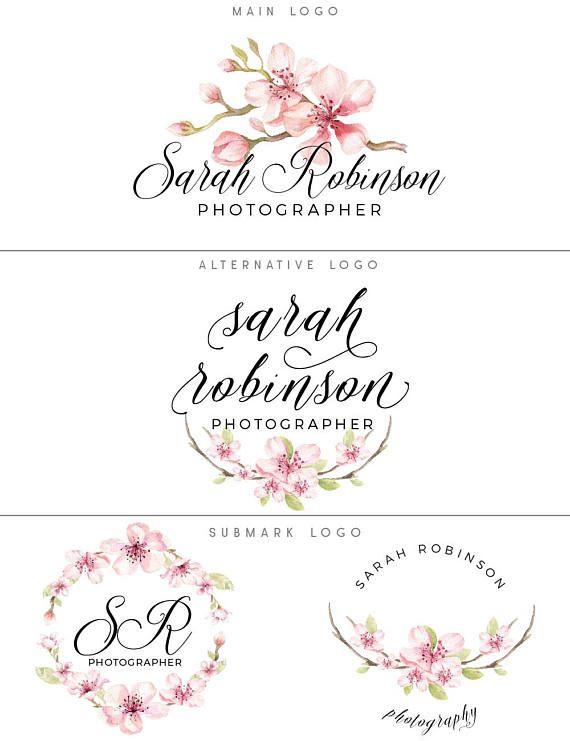 Blossom Logo Design And Watermark Cherry Blossom Logo Etsy Florist Logo Floral Logo Design Logo Design