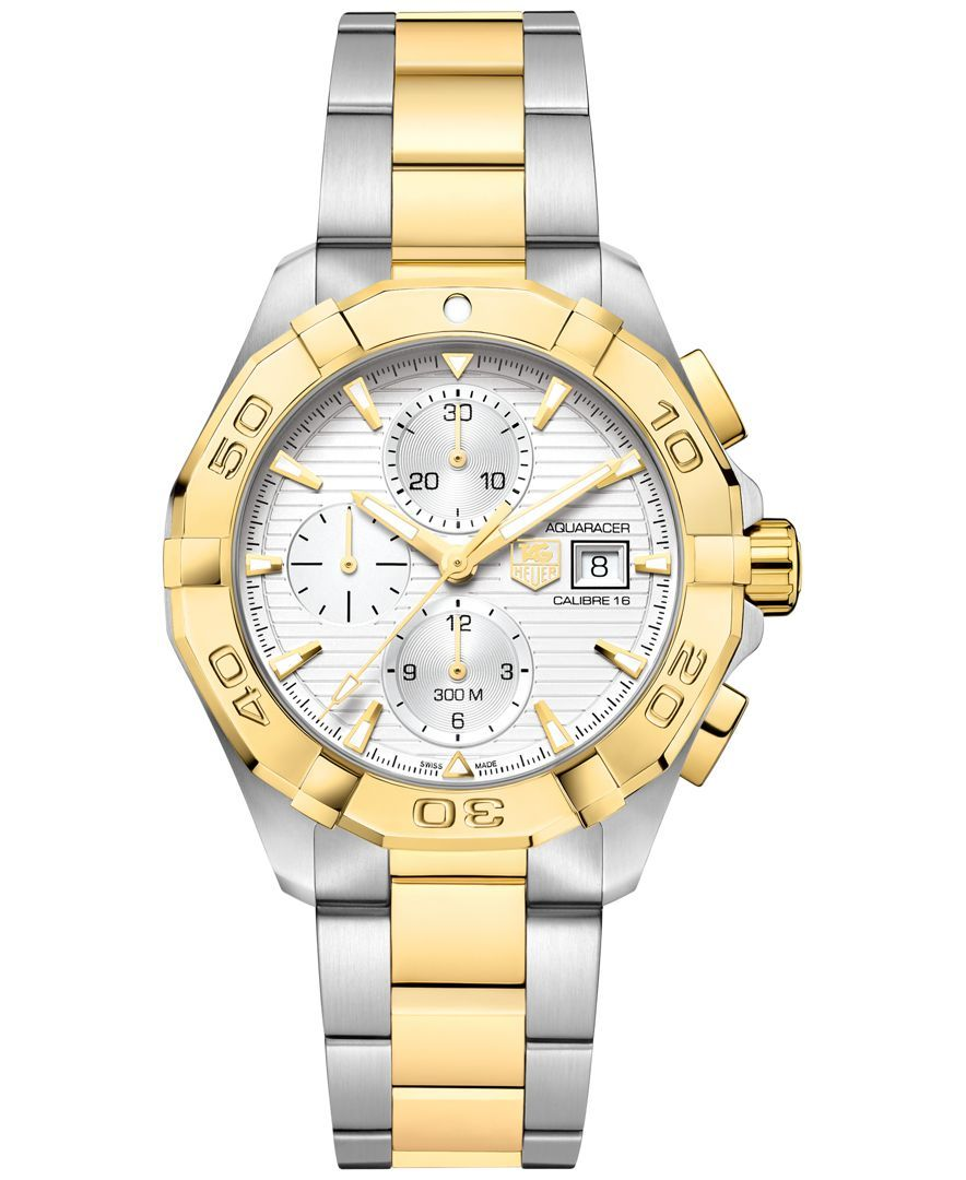 a615b917a93df Tag Heuer Men s Swiss Automatic Chronograph Aquaracer Silver-Tone and 18k  Gold-Plated Stainless Steel Bracelet Watch 43mm CAY2121.BB0923