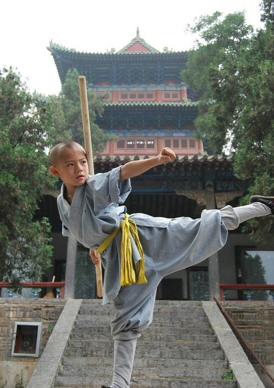 """A juvenile member of China's most famous Buddhist order: the Shaolin. Founded in 495AD and unlike other Buddhist monasteries, the Shaolin cultivated their members education of martial arts. Throughout history the order's members gained fame for their abilities and valor. Today, the fighting monks of the Shaolin are known worldwide, they are depicted in many movies and the Shaolin temple in Dengfeng, Henan is a popular destination for tourist from all over the world."""