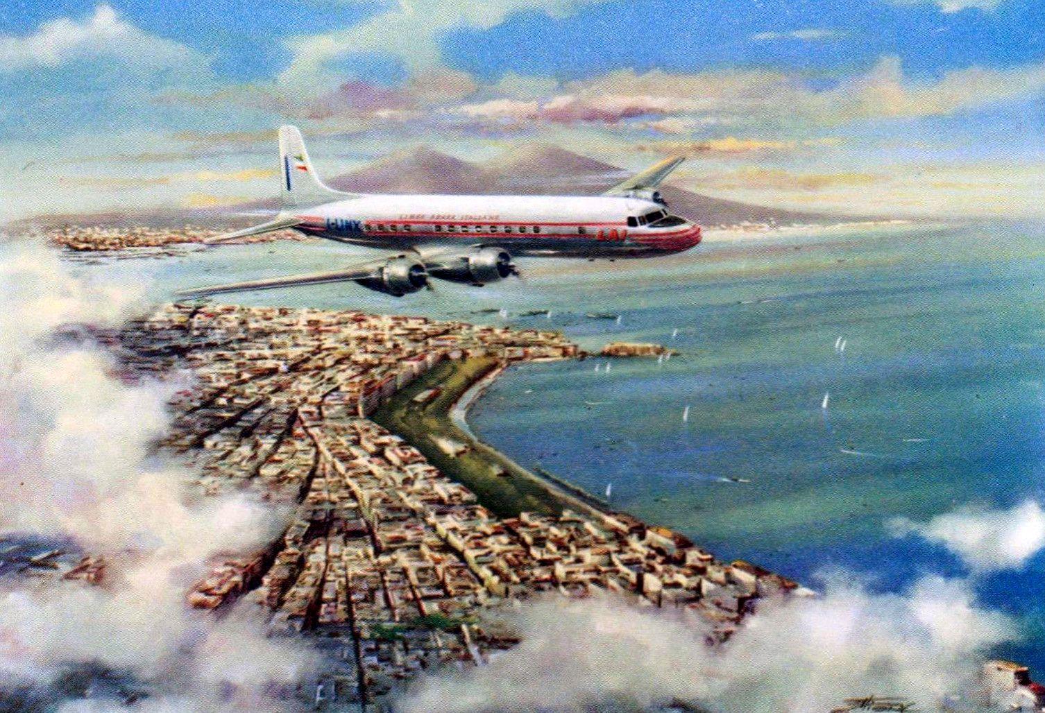 LAI Venezuela Airline over Naples Postcard