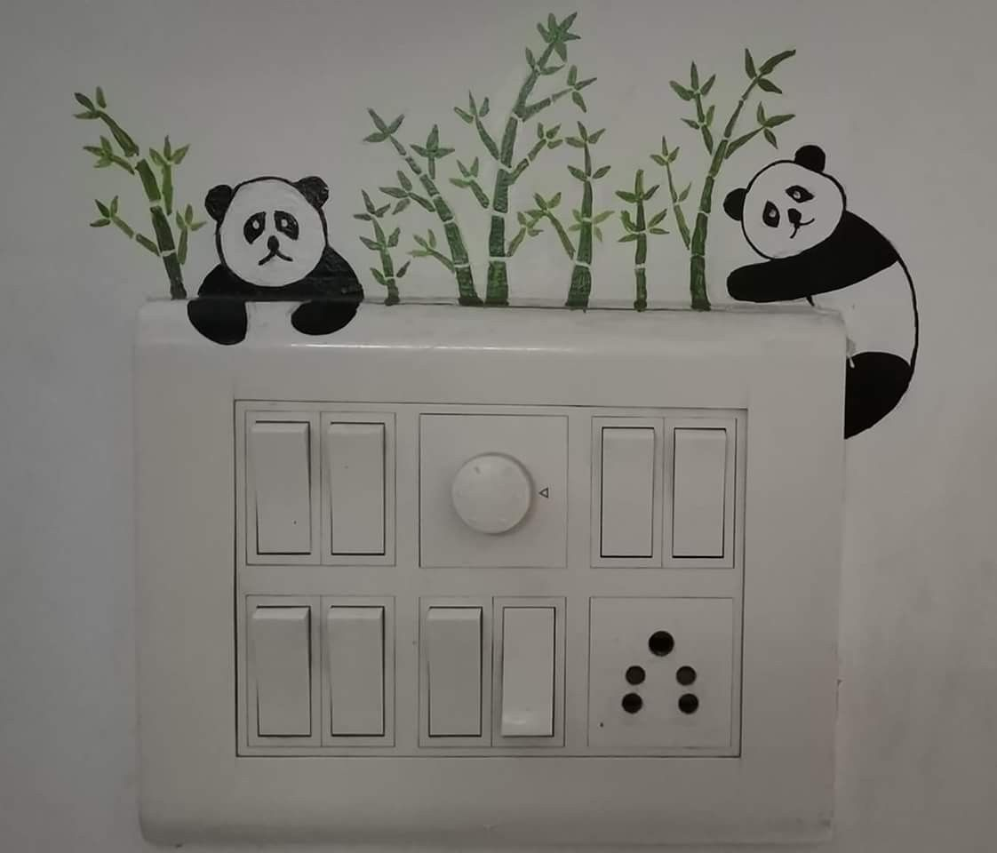 Switch Board Simple Wall Paintings Wall Paint Designs Creative Wall Painting