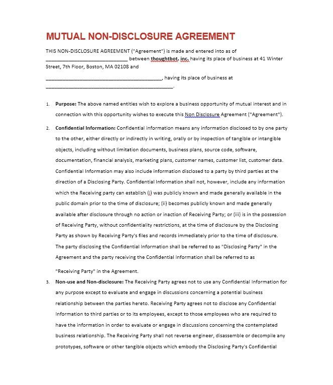 non disclosure agreement templates samples amp forms template lab - non disclosure agreement sample