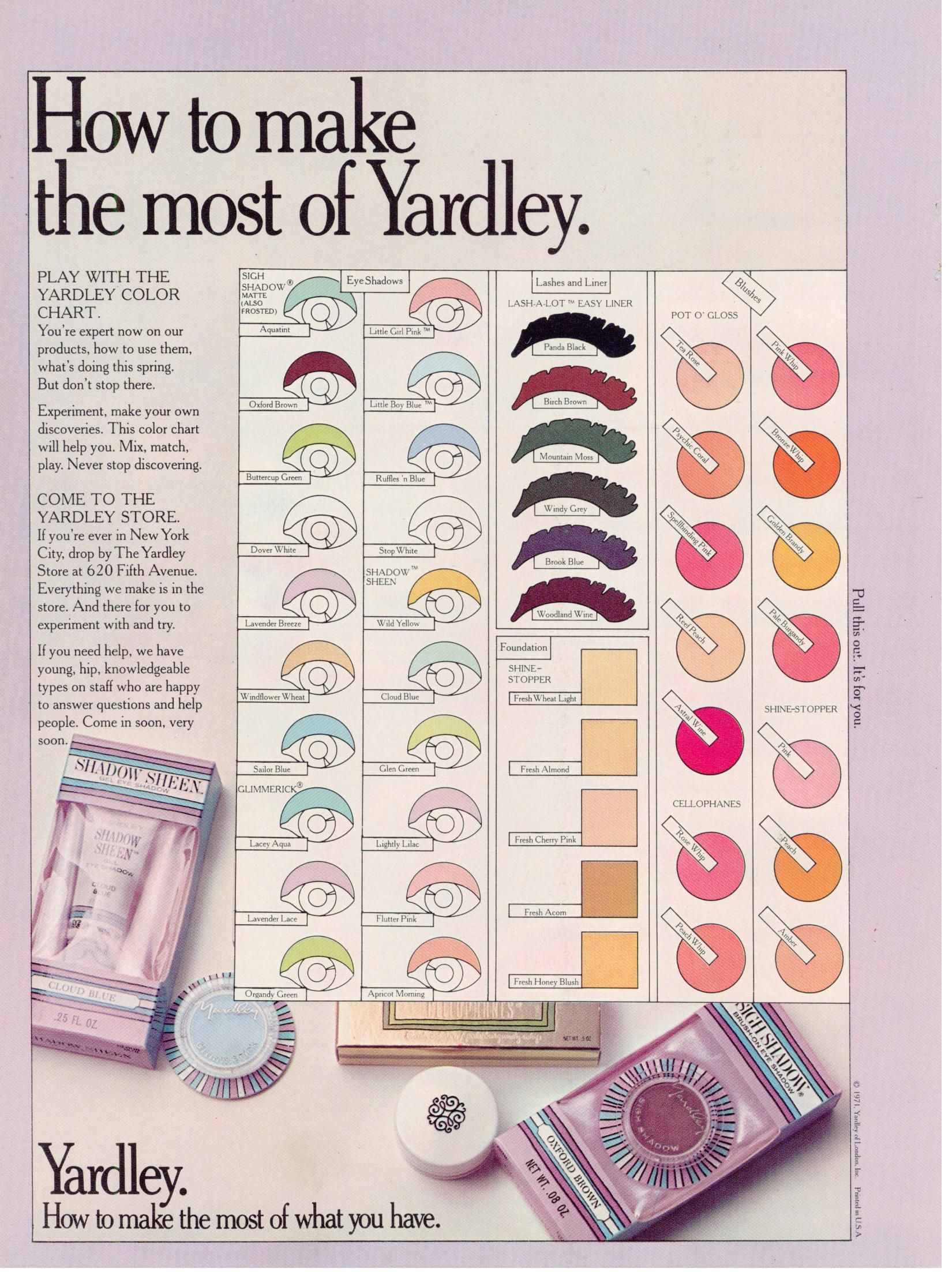 Yardley of London makeup vintage 1972 Vintage makeup