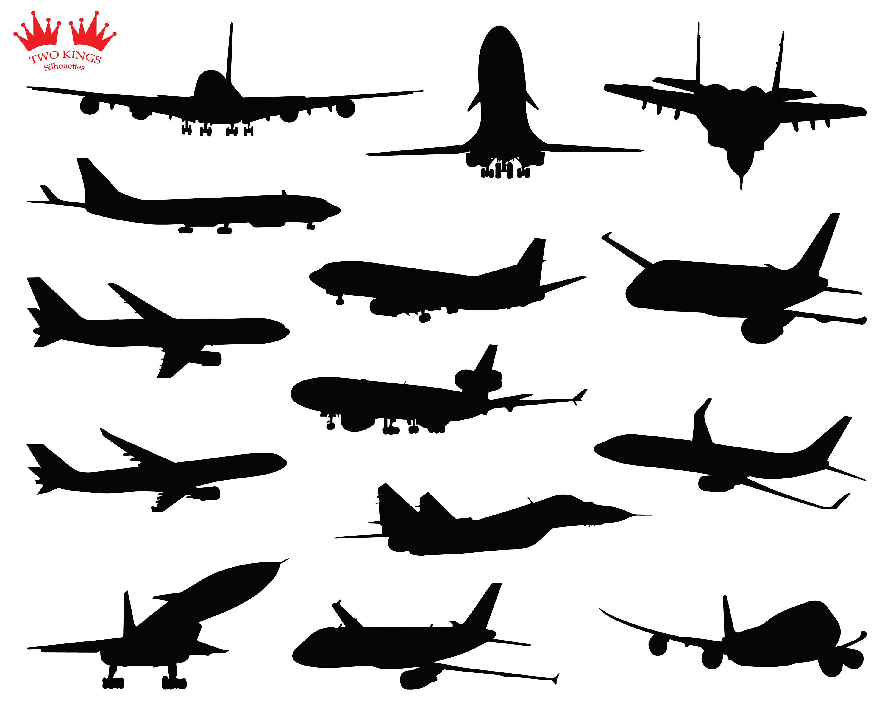 Svg Instant Download Set Of Airplanes Silhouettes Planes In Etsy Airplane Silhouette Logo Set King Design