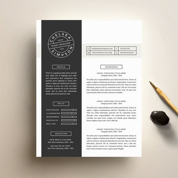 Creative Resume Template and Cover Letter Template for Word DIY - download cover letter template