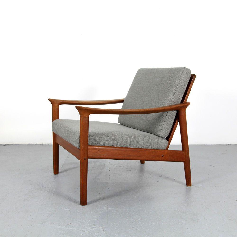 Mid Century Modern Easy Chair 50s 60s Denmark   Danish Modern Teak Sessel  60er - Mid Century Modern Easy Chair 50s 60s Denmark Danish Modern Teak