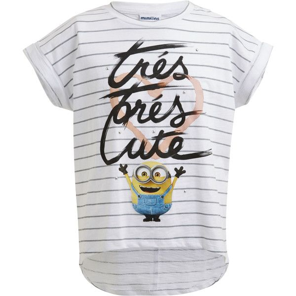 MINIONS TRES CHIC TEE White ❤ liked on Polyvore featuring tops, t-shirts, white tops, white studded top, print t shirts, folding t shirts and pattern tops