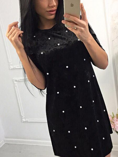 4216b0a4bb Black Velvet Pearl Embellished Mini Dress