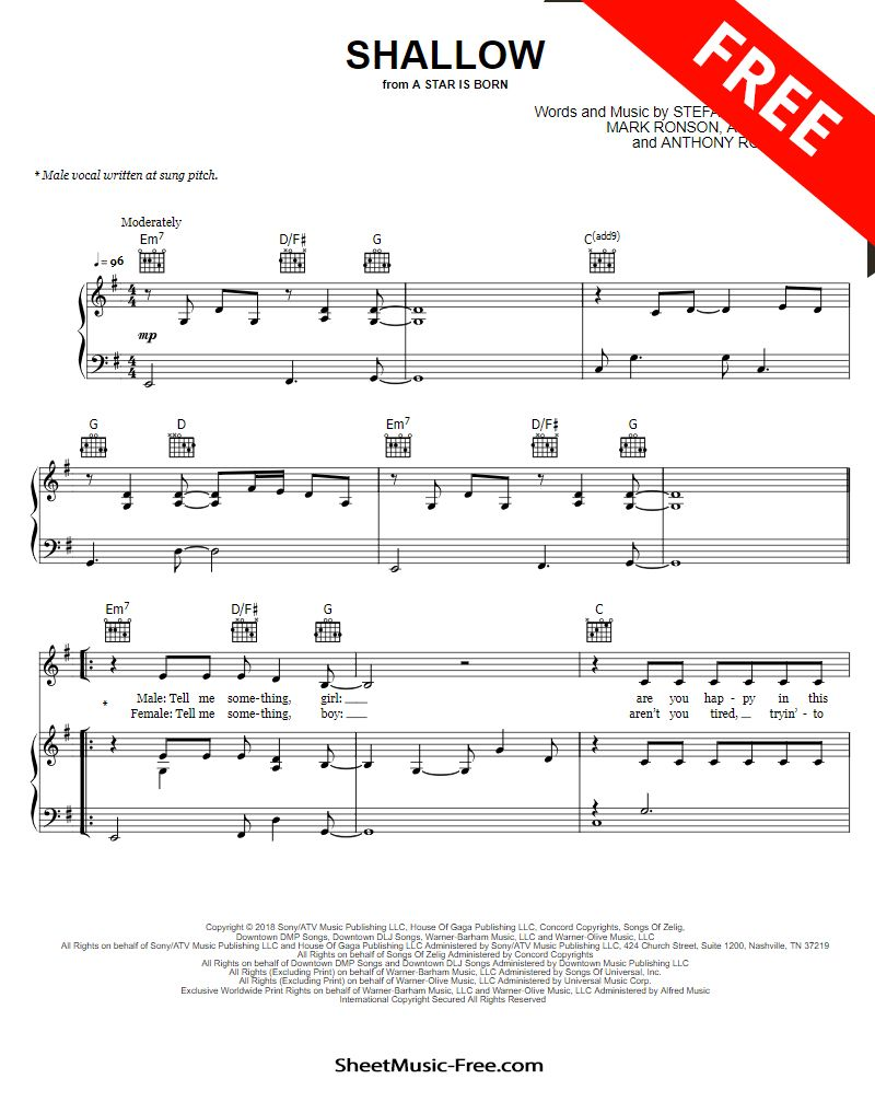 Shallow Sheet Music Lady Gaga From A Star Is Born Free Guitar