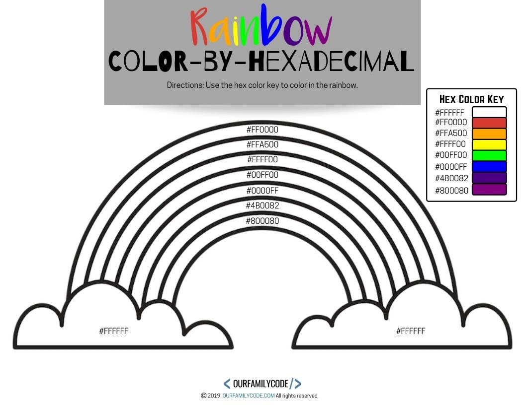 Color By Hexadecimal Rainbow Coding Activity