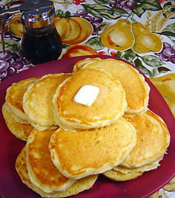 Buttermilk Pancakes Ingredients 2 cups flour  1 tsp salt  1 1/4 tsps baking soda  3/4 tsp baking powder  2 eggs (unbeaten)  2 cups buttermilk  1/4 cup melted butter