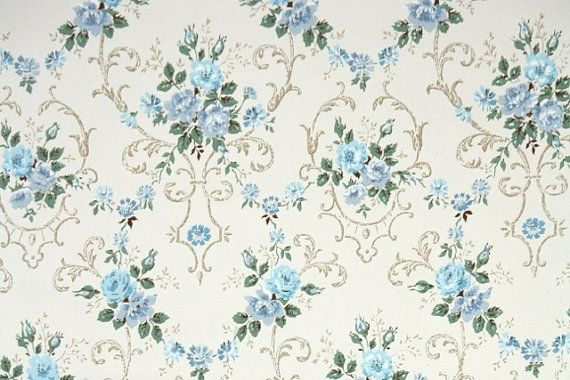 1940's+Vintage+Wallpaper++Floral+Wallpaper+by ...