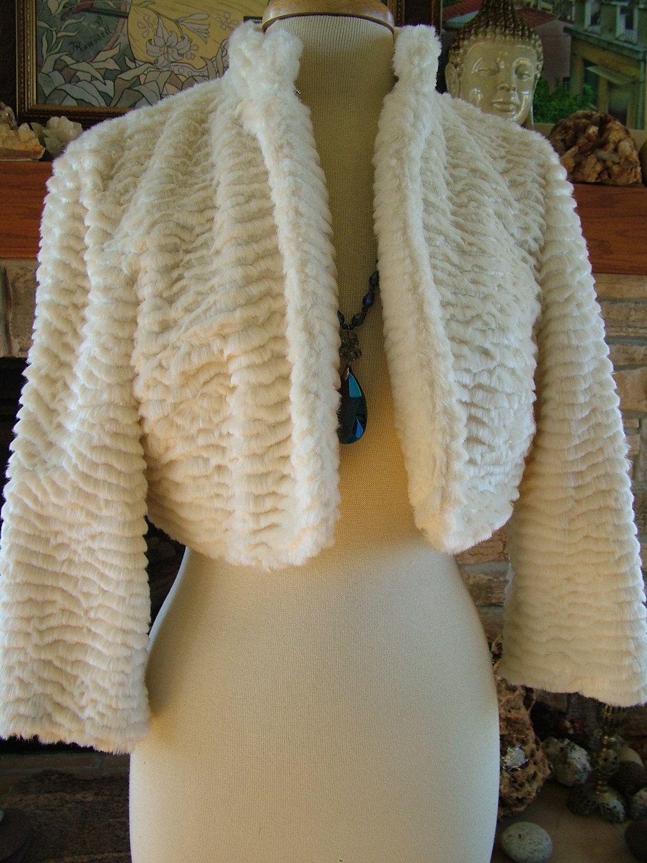 Fur wedding dress  Ivory faux fur wedding dress jacket bolero wedding coat  via