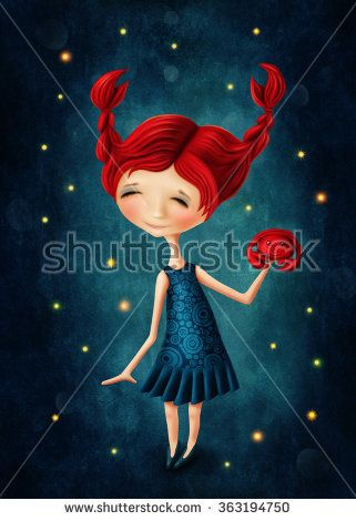 Illustration with a cancer astrological sign girl - stock photo