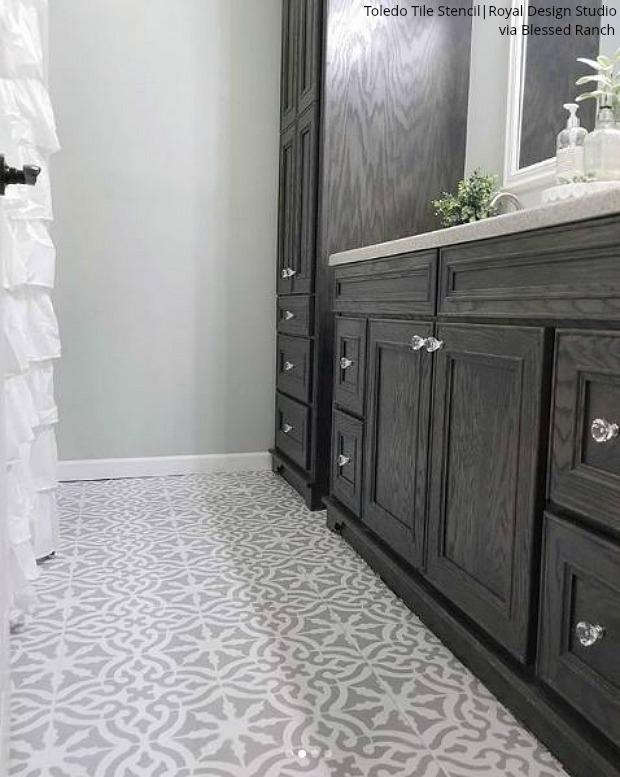 The Renovation Hack That Will Save You 1000s Bathroom Tile Floor Stencils Diy Bathroom Design Bathroom Floor Tiles Tile Bathroom