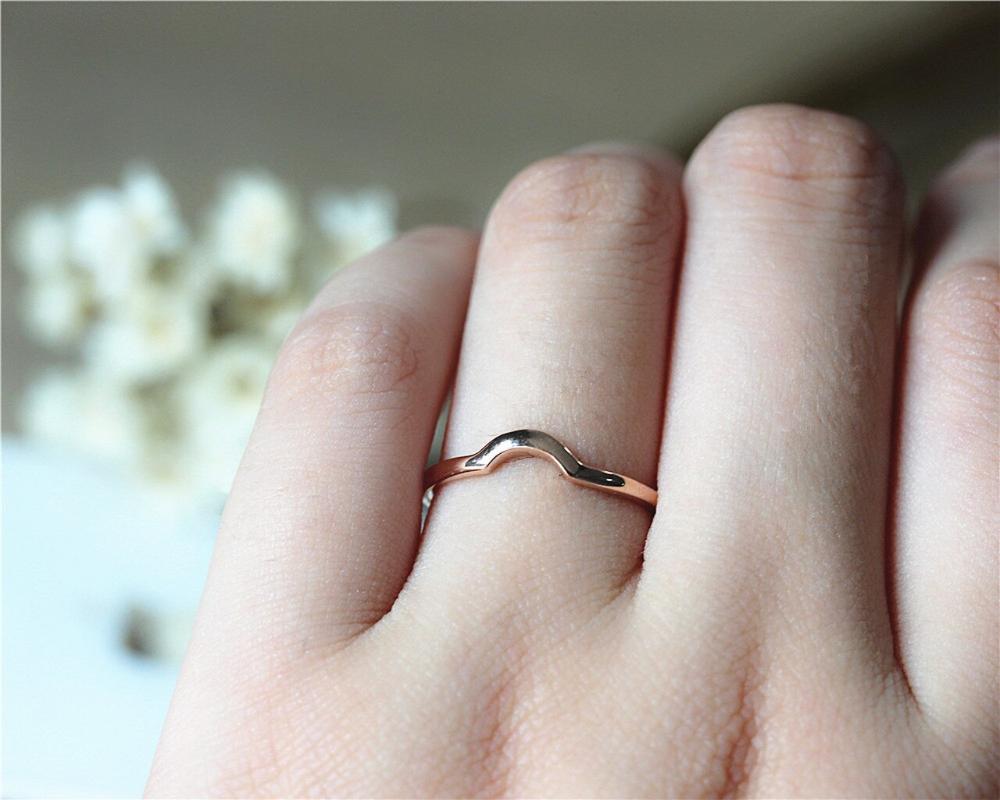 Curve Design Matching Ring Solid 18K Rose Gold Plain Band