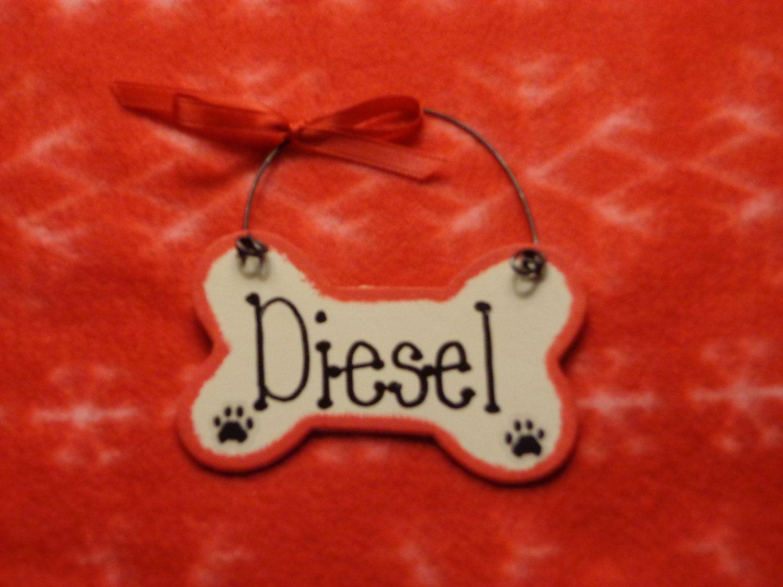Dog Bone Wood OrnamentHand PaintedChristmasPERSONALIZED