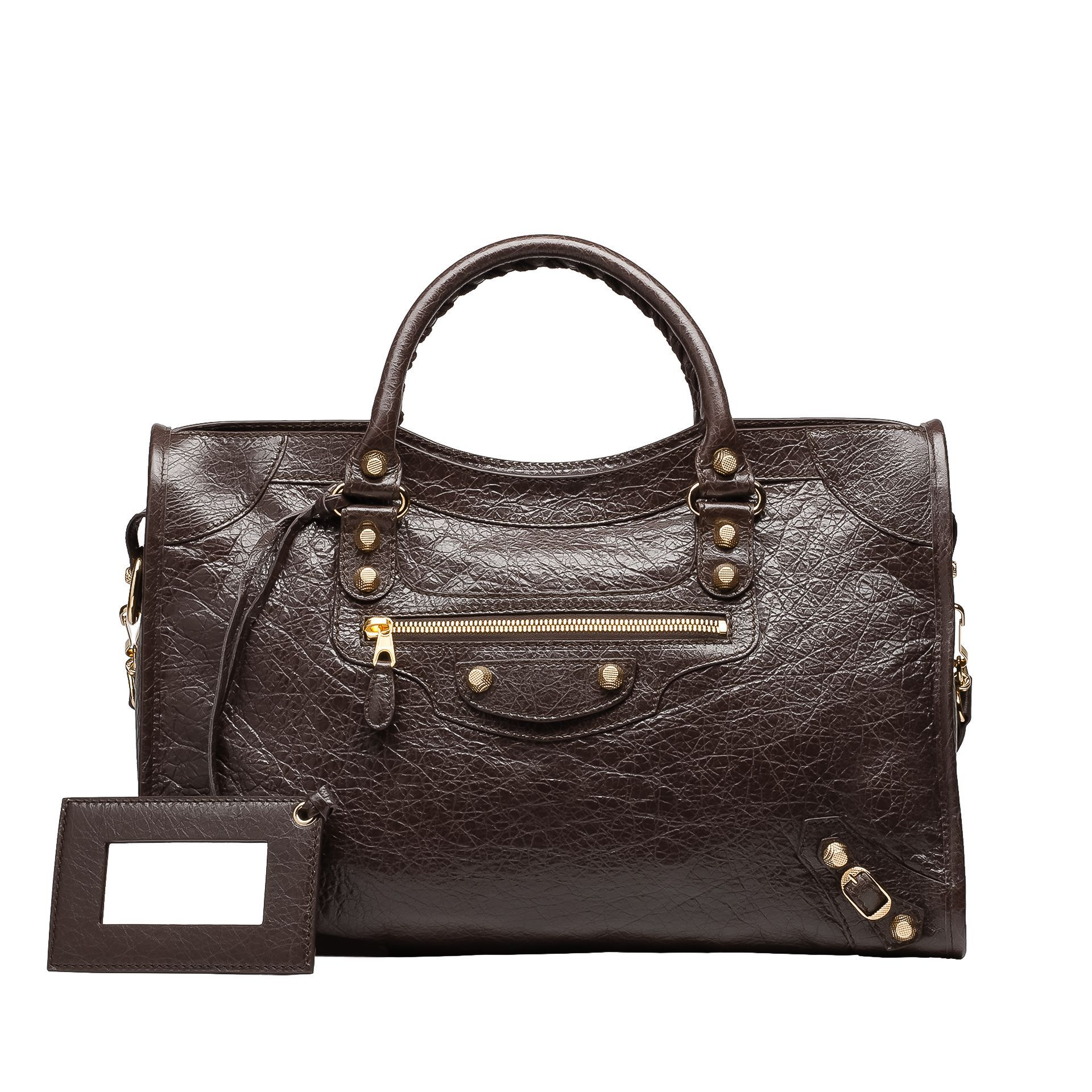 decb20443aae BALENCIAGA GIANT 12 GOLD CITY CHARBON Medium sized lambskin hand carry and  shoulder bag with