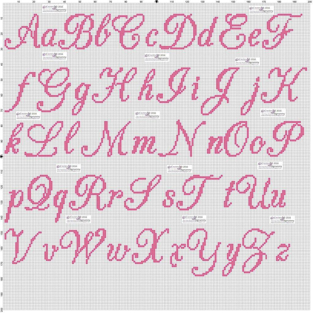 Risultati immagini per lettere a punto croce corsivo for Lettere a punto a croce