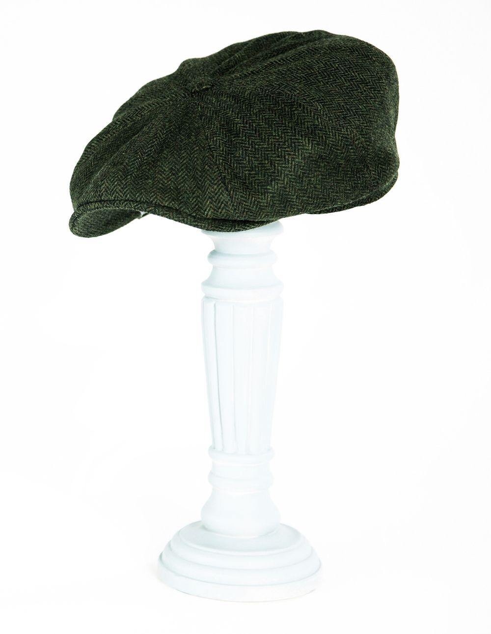 Kempadoo Millar Green Herringbone Tweed Baker Boy Cap  fe0a33aaedf6