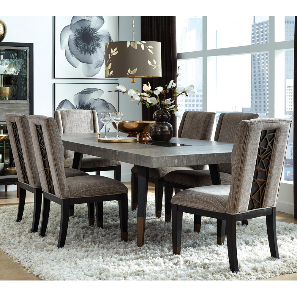 Nicolette Home Ryker Table And 6 Chairs In Nocturn Black And Coventry Grey Nfm In 2021 Dining Room Table Set Rectangle Dining Table Dining Room Sets