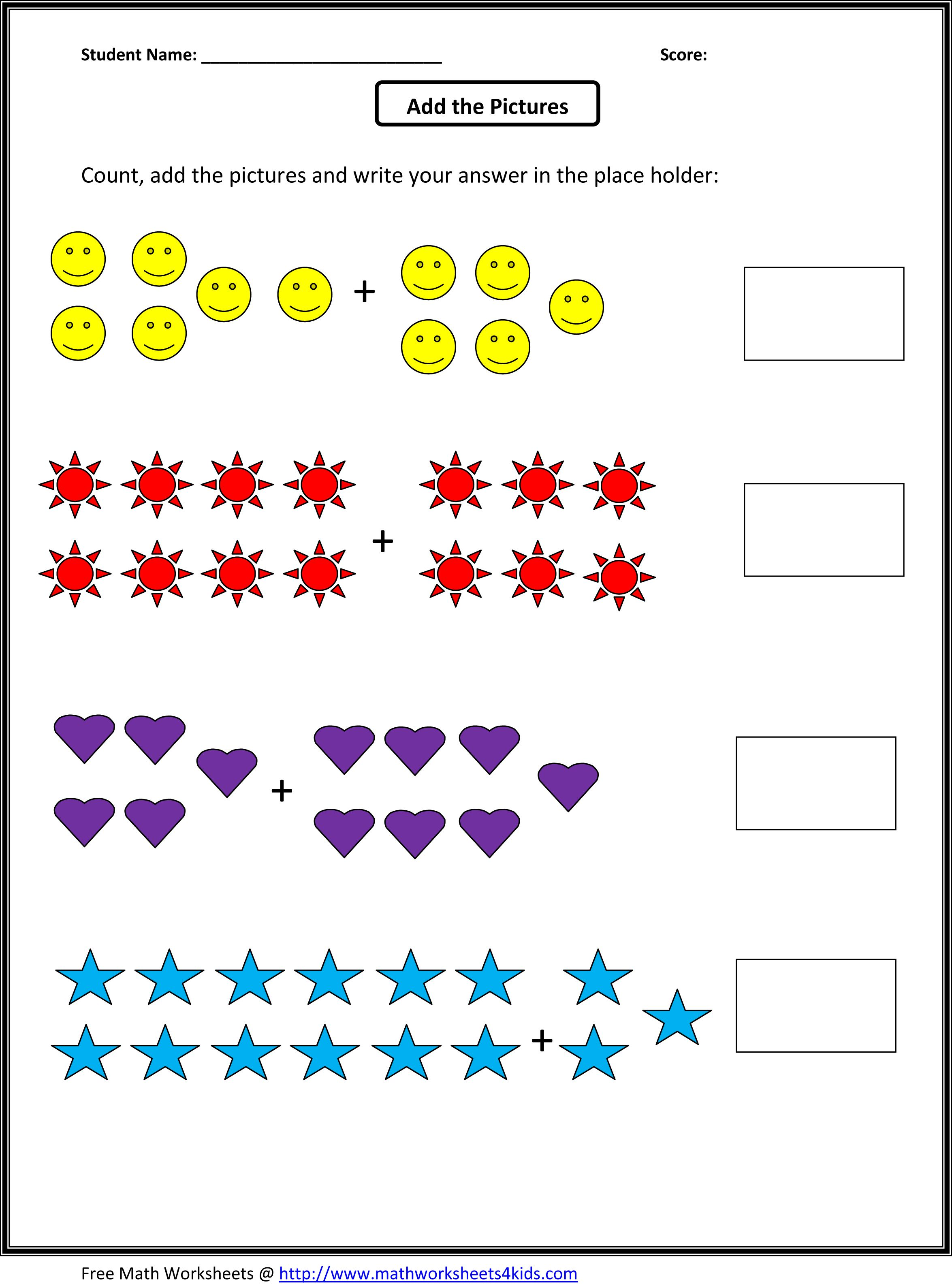 Count and add the pictures   First grade math worksheets [ 3174 x 2350 Pixel ]