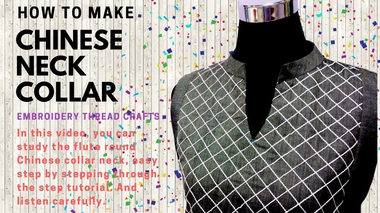Chinese neck round collar kurti with mesh yokes how to make