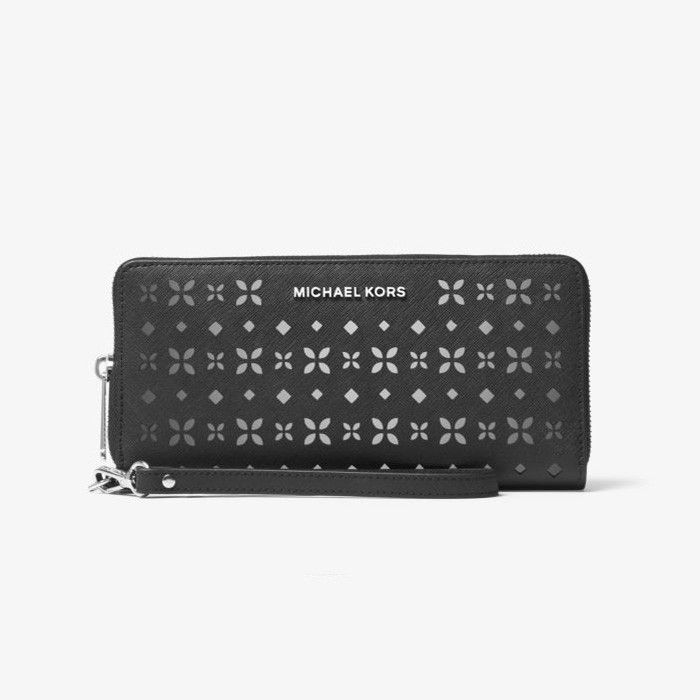 f2dc4557aadc MICHAEL Michael Kors Jet Set Travel Perforated-Leather Continental Wristlet  Black