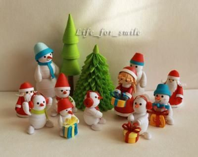 Christmas tree snowman santa claus quilling quilling for Quilling kitchen set