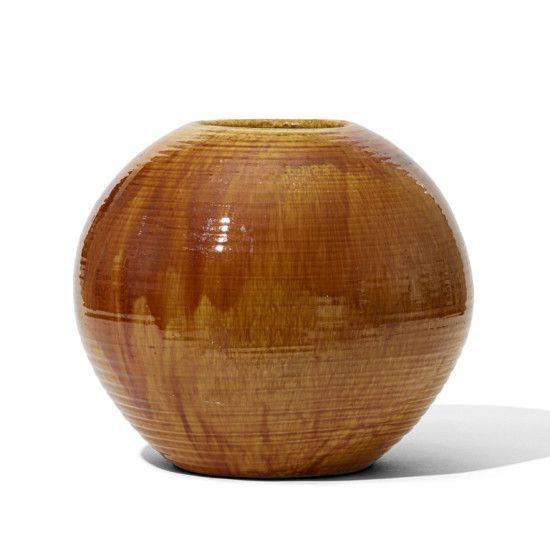 Large Spherical Vase With Flowing Golden Ochre Glaze Kahler 1930s