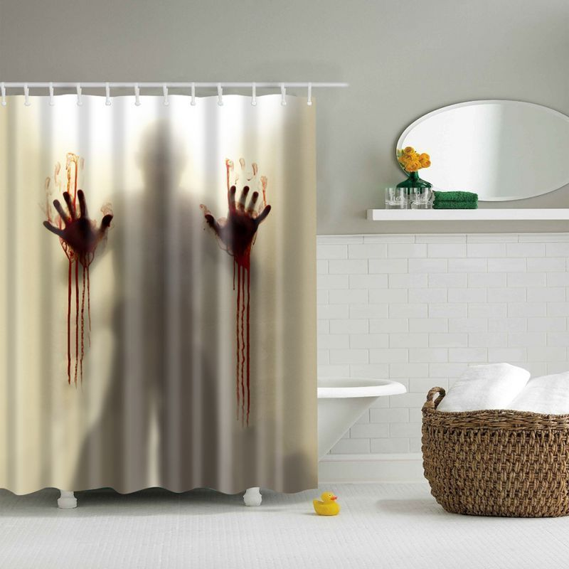 Flower Printed Shower Curtain Mildew Free Water Repellent Fabric Shower Curtain With 12 Plasti With Images Scary Shower Curtains Shower Curtain Decor Unique Shower Curtain