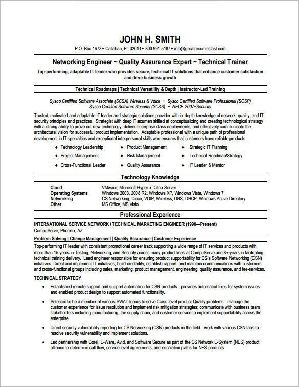 Resume Examples Network Engineer #engineer #examples #network - resume quality assurance