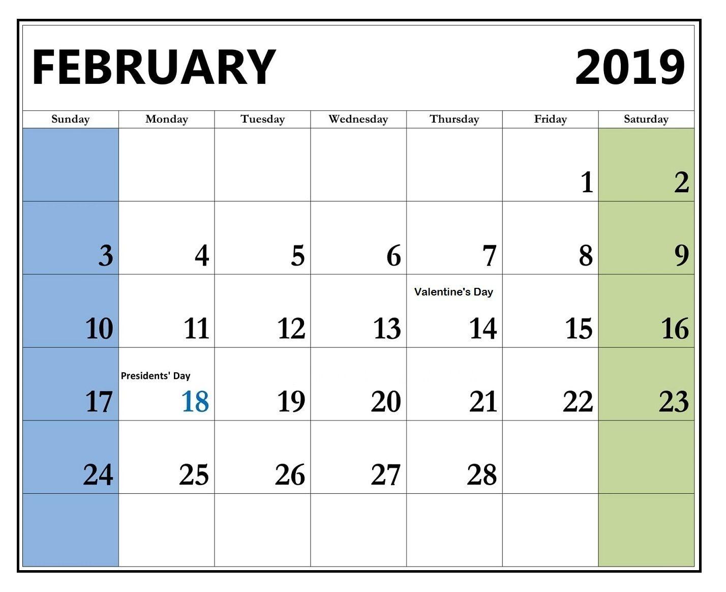 February 2019 Calendar With Holidays 2019 Calendar Holiday Printables Calendar