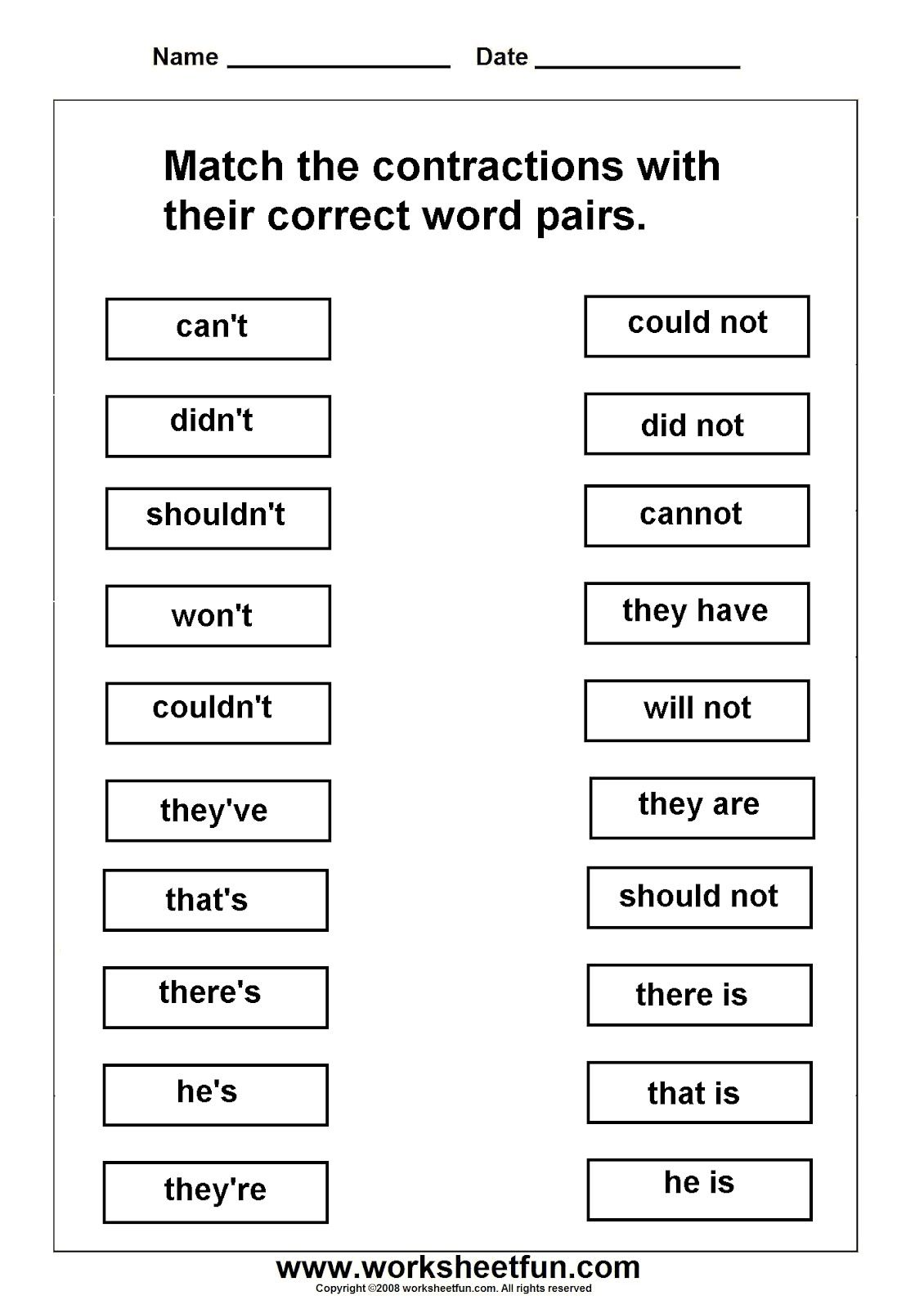 Worksheets On Contractions