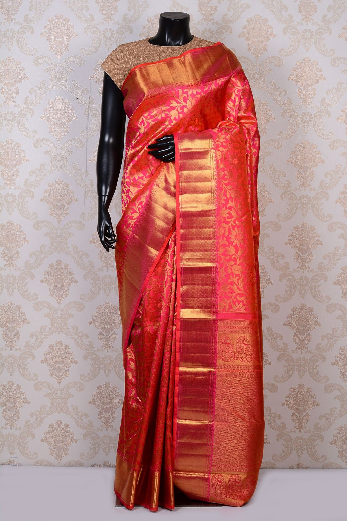 2ff591d110 Hot pink lovely kanchipuram silk saree with gold border-SR17199 - Pure  Kanchipuram Real Zari - PURE HANDLOOM SILK SAREE - Sarees