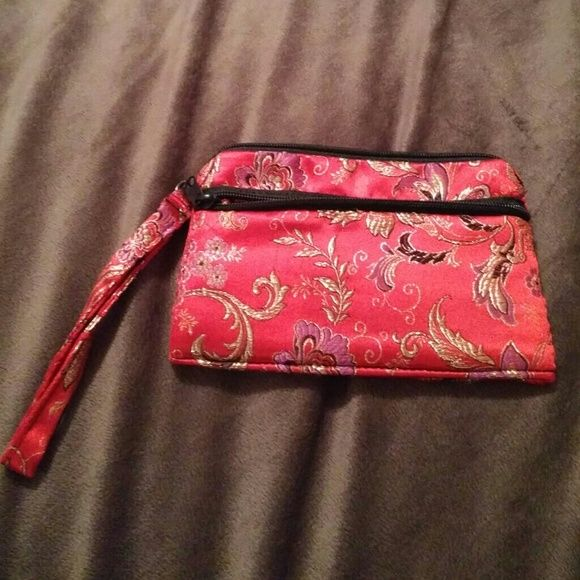 Asian print wristlet Beautiful print vibrant colored wristlet. Main compartment and 2nd pocket Bags Clutches & Wristlets