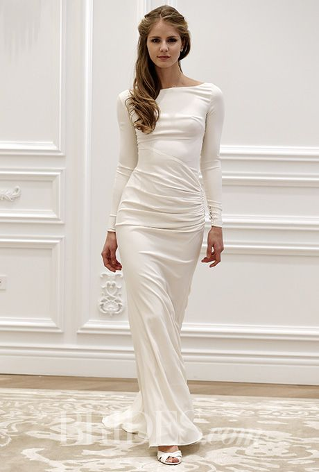 Brides.com: . Long sleeve sheath with a bateau neckline and draped bodice, Anne Barge