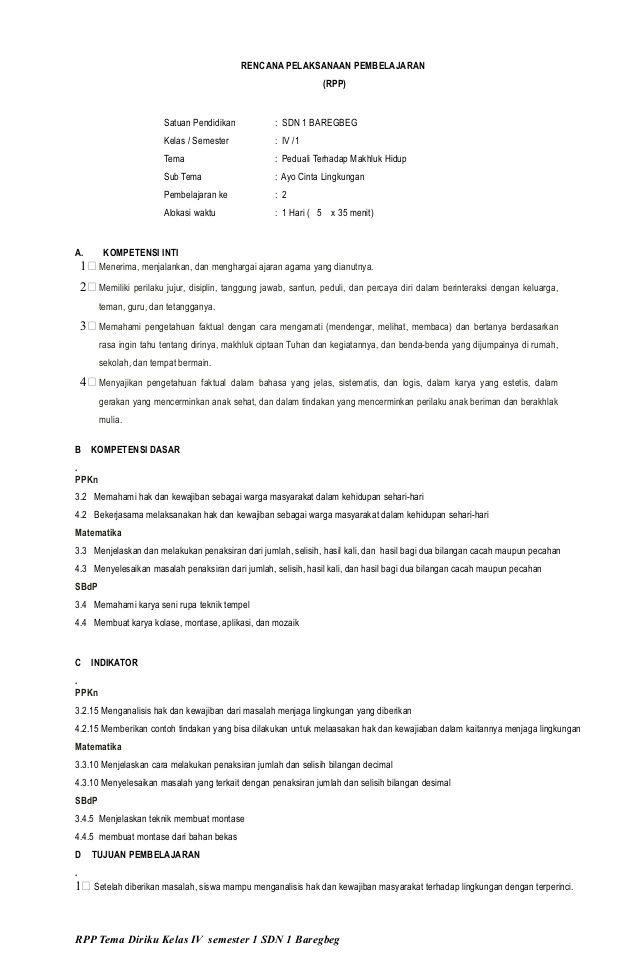 Download RPP K13 Revisi 2017 Kelas 4 Tema 3 Pembelajaran...